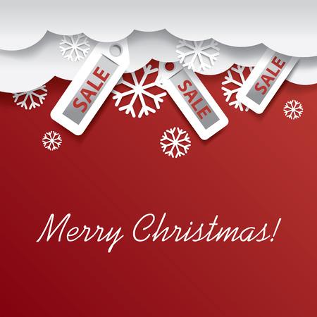 salumi affettati: Christmas card design illustrazione con vendita adesivo appeso da nubi su sfondo rosso con spazio per il testo Vettoriali