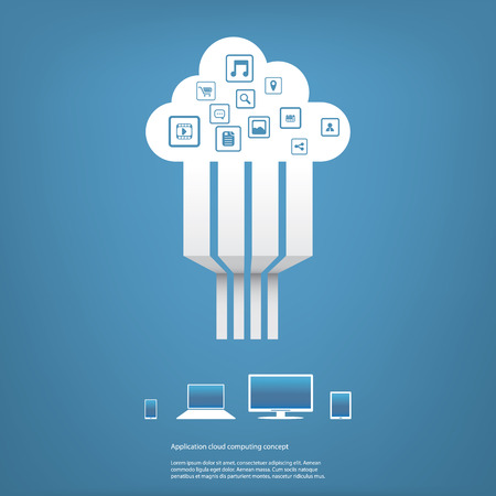 Cloud computing concept vector illustration with applications icons and devices. Eps10 vector illustration Vector