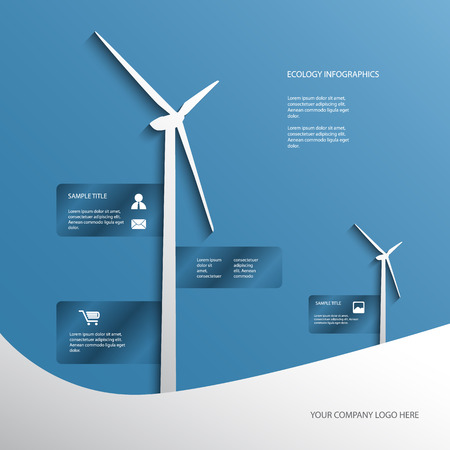 Ecology poster or flyer with wind turbines on blue background with infographics menu options.