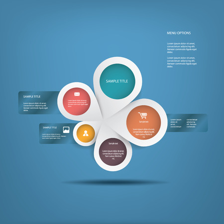 business for the middle: Round white infographics connected in middle suitable for business infographics, website development, business presentations, etc.