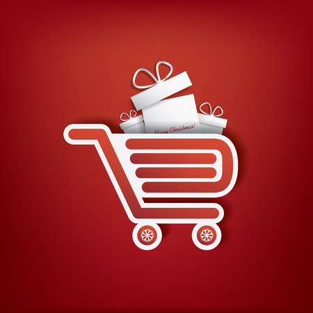 rebate: Shopping bag icon with Christmas sales theme for sales promotion and advertising. Illustration