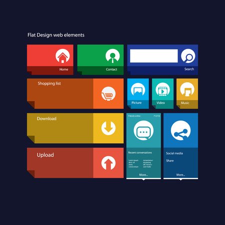 interface design: Graphic user interface flat design illustration with icons suitable for web design, tablet, smartphone user interface or infographics Illustration