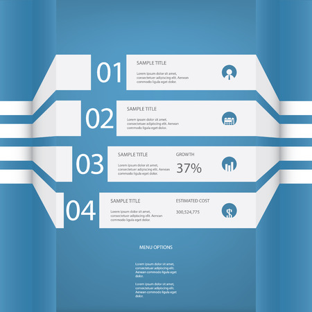 introduction: White infographic elements with various icons suitable for infographics, web layout, presentations, etc. Illustration