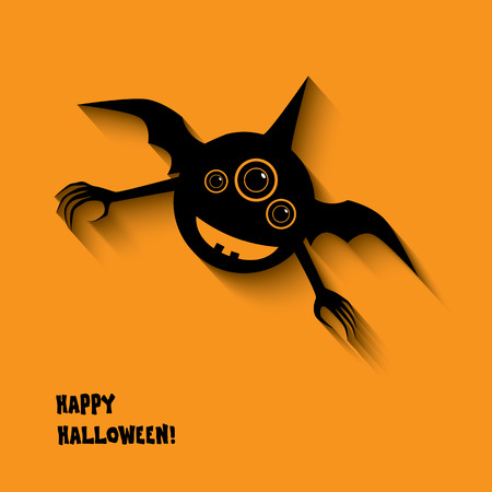 Halloween card or postcard design with happy smile monsters and space for text.  Vector