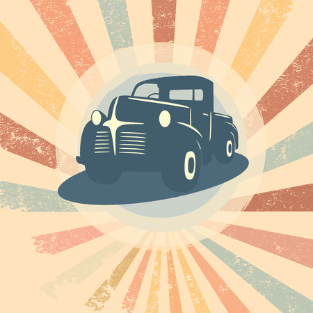 Vintage retro pickup truck car illustration suitable for promotion, t-shirt designs, etc.