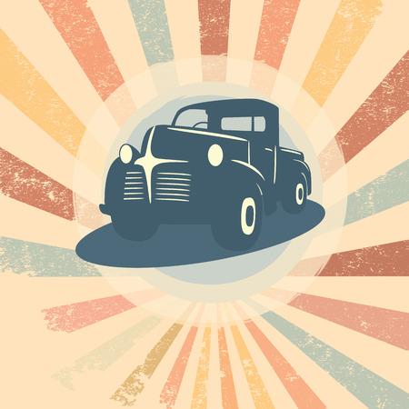 Vintage retro pick-up truck auto illustratie geschikt voor promotie, t-shirt ontwerpen, enz.