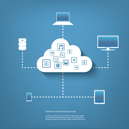 Cloud computing concept illustration with applications icons and devices.