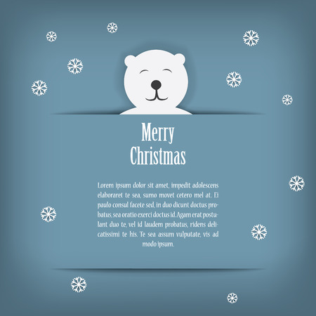 Christmas card design with cute white polar bear suitable for kids.  Vector