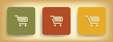 Basic business online shopping icons with three different shopping carts in vintage colors Vector