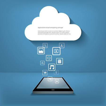 Cloud computing concept illustration with applications icons and smartphone.
