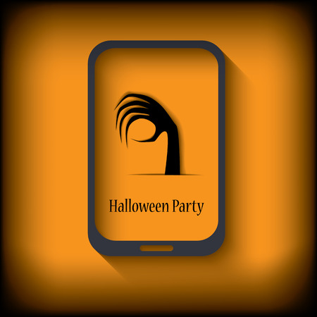 gloom: Halloween postcard design in a smartphone suitable for halloween cards, party invitations, etc.