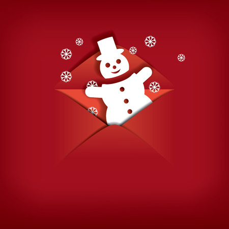 red envelope: Christmas card design with a cute snowman in envelope.