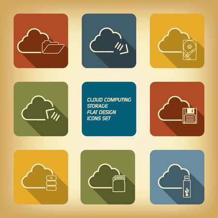 Cloud computing storage web icons set in retro colors with long shadows Vector