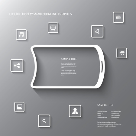 Flexible display smartphone infographics with several icons in modern 3d design suitable for presentations, advertising, infographics, etc. Vector