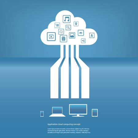 Cloud computing concept illustration with applications icons and devices.  Vector