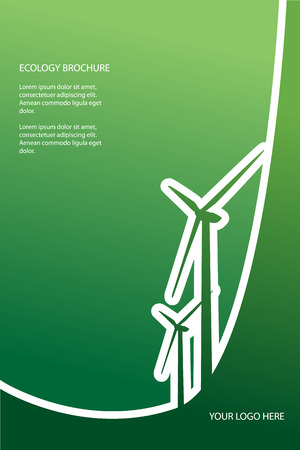 Ecology background design with wind turbines suitable for presentations, infographics, flyers, brochures, etc. Vector