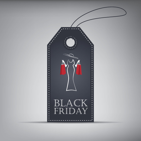 Black Friday sales shopping price tag with shopping items symbols.  Vector