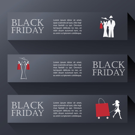 Black friday sales banners in modern design with elegant man and woman figures.