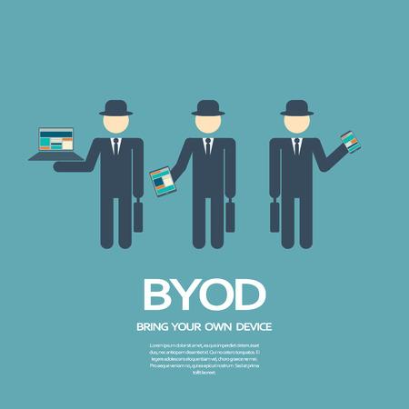 apporter: Apportez votre propre appareil, BYOD, concept illustration avec divers appareils.