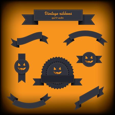 Halloween vintage ribbon elements. Vector