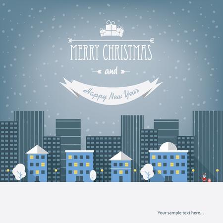 streetlight: Christmas cityscape card design with small houses.
