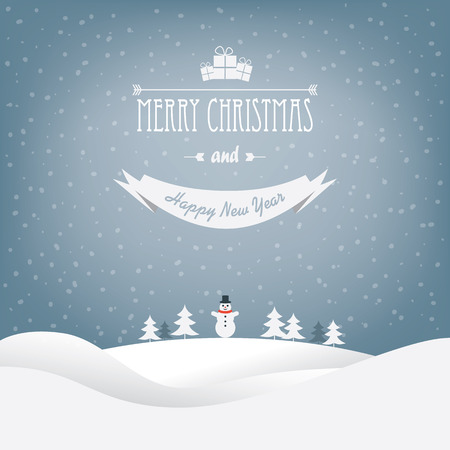 christmas flyer background: Christmas landscape card design with trees and a snowman. Illustration