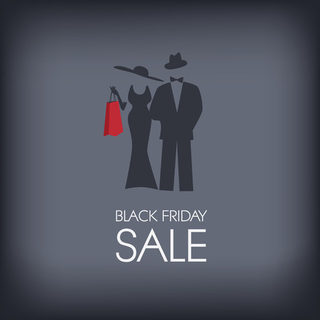 Black Friday shopping poster or flyer with elegant figure shopping.
