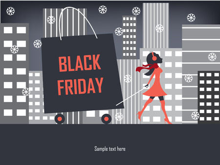 Black Friday shopping poster or flyer with elegant figure shopping. Vector