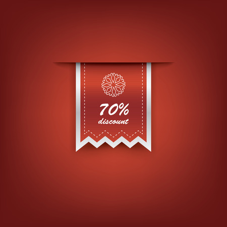 Elegant Christmas vertical ribbon tags with winter discounts and sales symbols. Vector