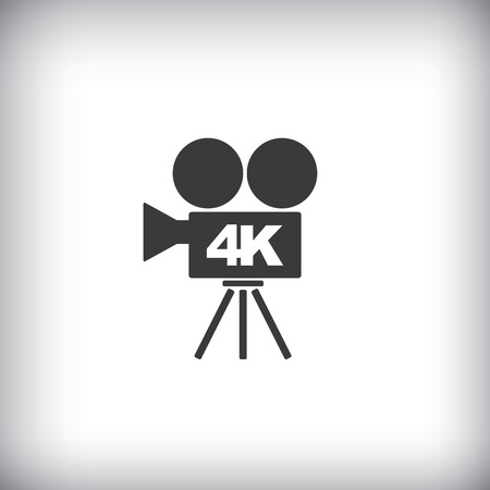 hd video: 4k ultra hd video recorder icon isolated on background.