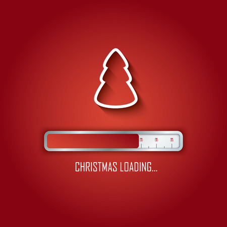 Christmas loading card design with tree and bar.