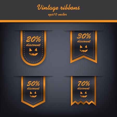 Halloween vertical ribbon elements for sales. Vector