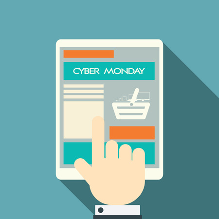 monday: Cyber Monday sales symbols on various devices. Eps10 vector illustration. Illustration