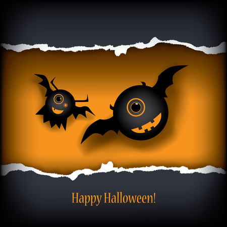 one eyed: Halloween card design with monsters.