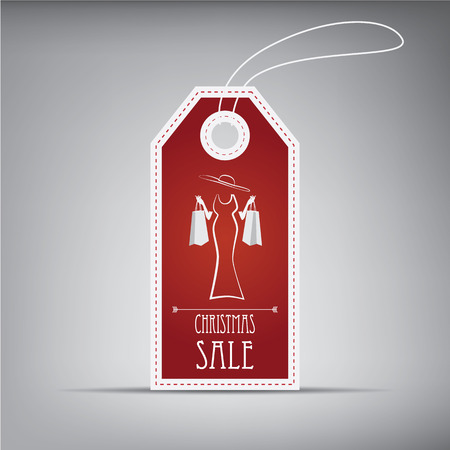 clothing label: Christmas sales tag with vintage elements and stylish figure.
