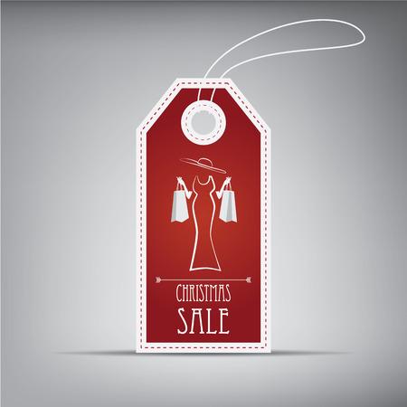 etiquetas de ropa: Navidad etiqueta de venta con elementos vintage y figura elegante. Vectores