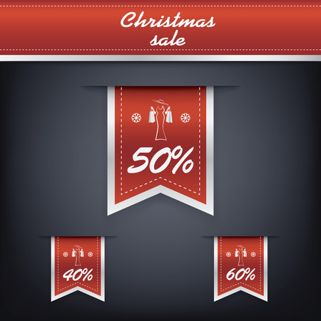Set of elegant Christmas vertical ribbon tags with winter discounts and sales symbols.  Vector