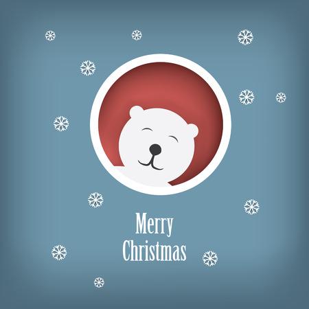 Christmas card design with cute white polar bear sutiable for kids. Eps10 scalable vector illustration Vector