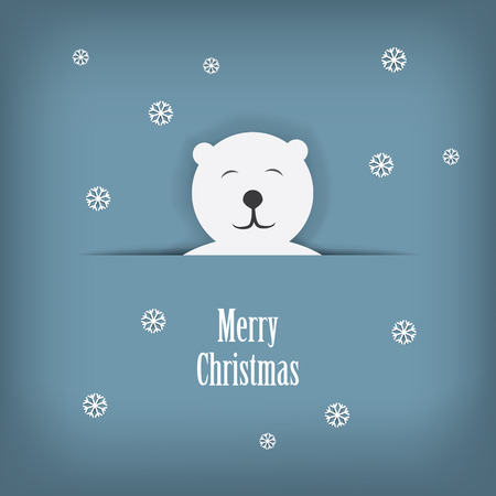 scalable: Christmas card design with cute white polar bear sutiable for kids. Eps10 scalable vector illustration