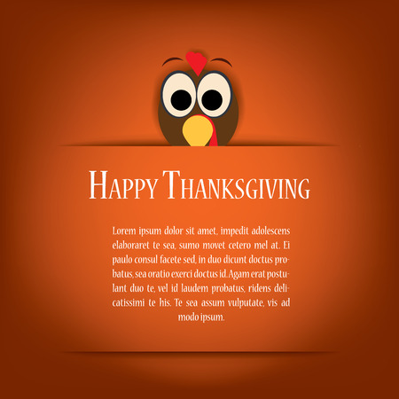 red and yellow card: Thanksgiving card vector illustration design with traditional turkey and space for text. Eps10 vector illustration.