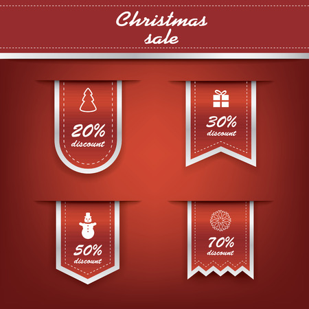 christmas banner: Set of elegant Christmas vertical ribbon tags with winter discounts and sales symbols.