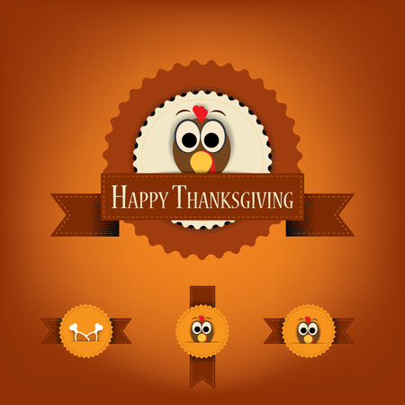 Thanksgiving badges with ribbons and turkey. Vector