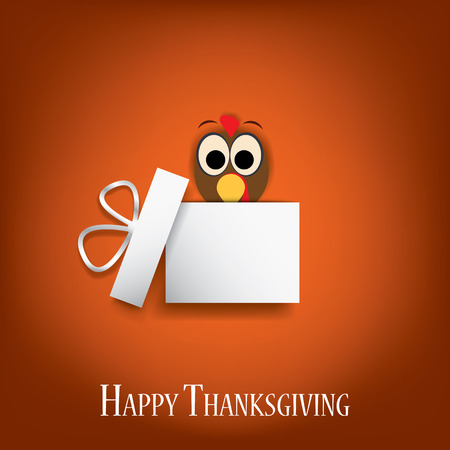 Thanksgiving card vector design with traditional turkey in gift box. suitable for cards, flyers, posters, invitations.  Vector