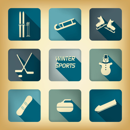 bobsleigh: Winter sport pictograms with various winter sports in vintage design.