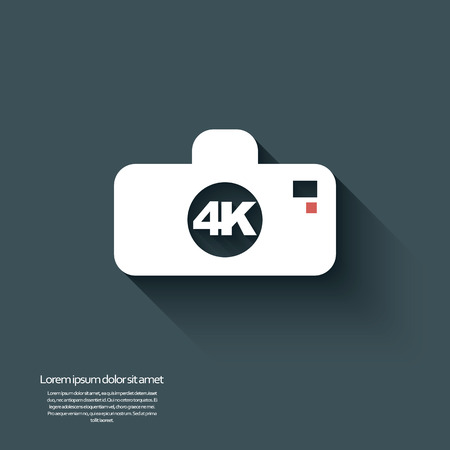 ultra: 4k ultra hd camera icon isolated on background.