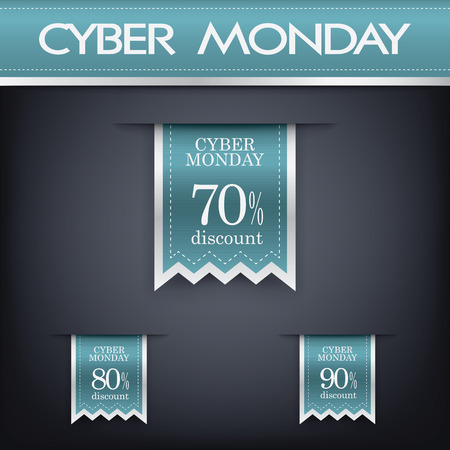 Cyber monday sales web elements with banners and discounts. Vector