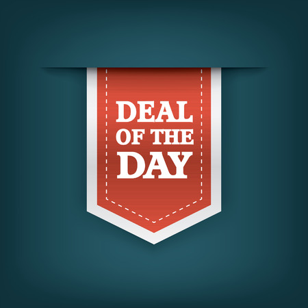Deal of the day vertical ribbon bookmark tag element for sales promotion.