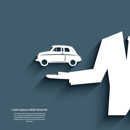 Car sale banner with car symbol and businessman.  Vector