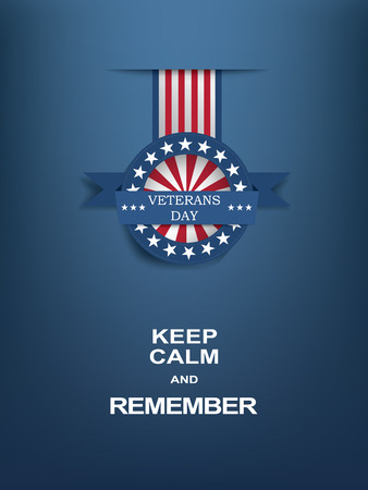 keep: Veterans day motivational poster with medal badge.