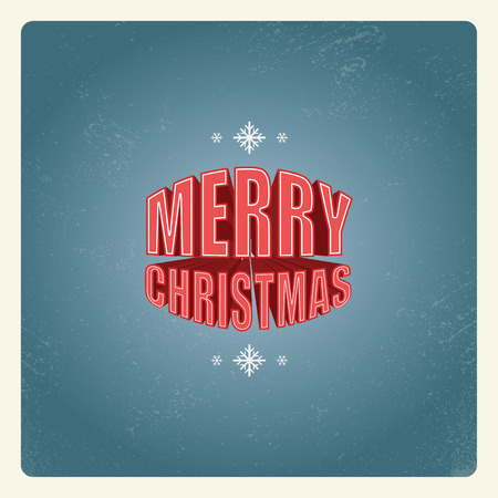 christmas movies: Vintage Christmas card design with creative 3d typography from old movies.  Illustration